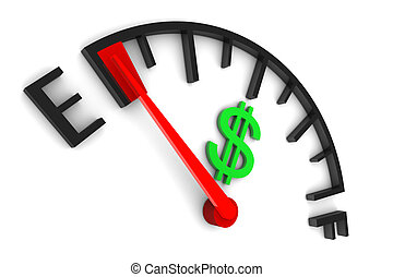 Money Gauge Empty - Money sign gauge empty illustration on...