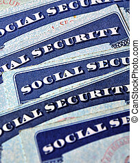 Social Security Cards Representing Finances and Retirement -...