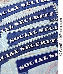 social, segurança, Cartões, representando,...