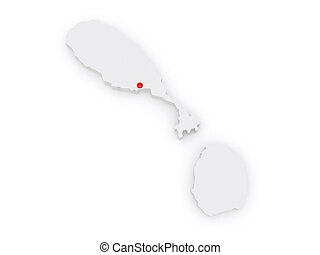 Map of Saint Kitts and Nevis 3d
