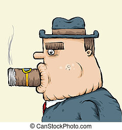 Big Cigar Man - A big cartoon man with a big cigar in his...