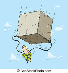 Parachute Block - A cartoon skydiver finds that his...