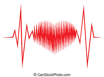 Heart shape ECG line - Vector illustration of the heart...