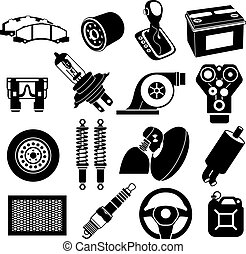 Car service icons black - Car maintenance icons black on...