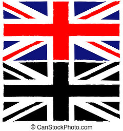 Painted Union Jack - Concept illustration showing a painted...
