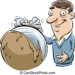 Ball Polisher - A cartoon man cleaning and polishing a large...