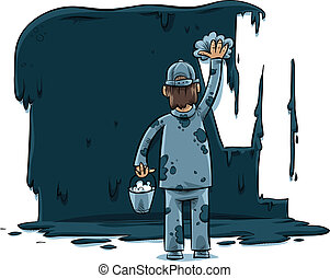 Cleaning Man - A cartoon man wipes away a large, dark...