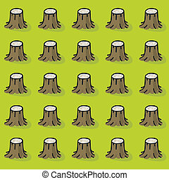 Clearcut Forest - Cartoon tree stumps in a forest that was...