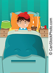 Sick kid resting - A vector illustration of sick boy resting...