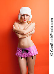 Beautiful sexy blonde model on a red background - Beautiful...
