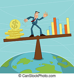 businessman balancing coin and graph