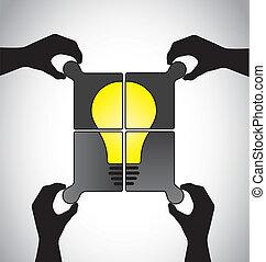 idea teamwork hands jigsaw art