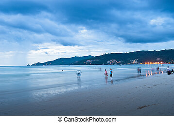 sunset at the Patong beach, Phuket, Thailand
