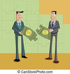 Problem Solving Concept - businessmen with dollar puzzle,...