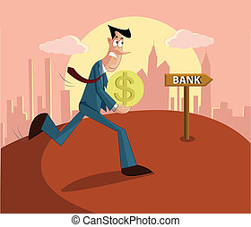 man paying loan in bank - man walking with money towards...
