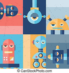 Background with robot in flat style.