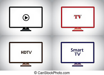 colorful flat, lcd, hd, smart plasma tv television icon set. different colored wide screen television collection concept illustration