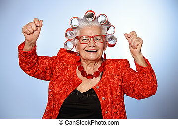 funny old lady - Portrait of an elderly woman in curlers...