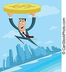Businessman flying with dollar
