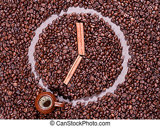 coffee beans in the form of clock