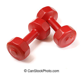 Dumbells - Small red 1,5kg 3 lbs plastic dumbells on white...