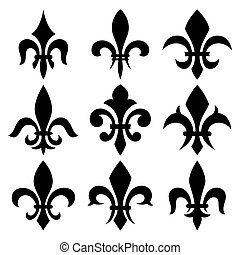 fleur de lis set. Vector isolated images.