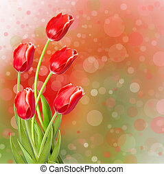 Bouquet of red tulips with green leaves on abstract...