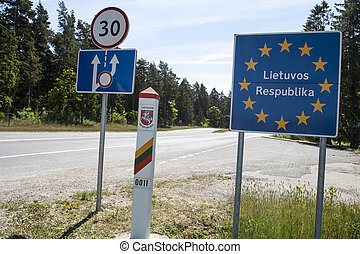 Lithuania country border sign between Latvia and Lithuania...