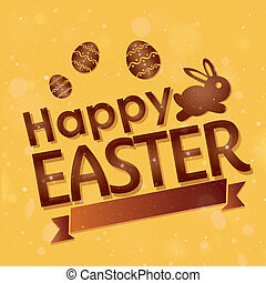 easter - a yellow background with some text, eggs and a...