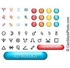 set of zodiac signs and planets