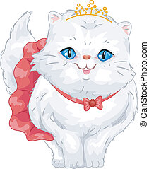 Persian Cat Tiara - Illustration of a Cute Persian Cat...