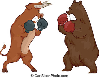 Stock Market Bull and Bear Fight - Illustration Depicting...