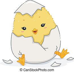 Chick Hatching - Illustration Featuring a Cute Chick in the...