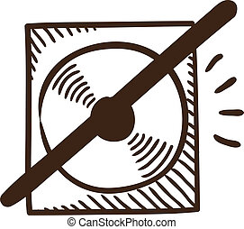 CD or DVD crossed symbol - Isolated sketch icon pictogram...