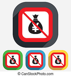 No Money bag sign icon Yen JPY currency - No Money bag sign...