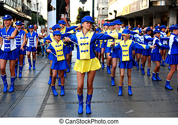 SERBIA, BELGRADE - AUGUST 22, 2011: Majorette dance in front...