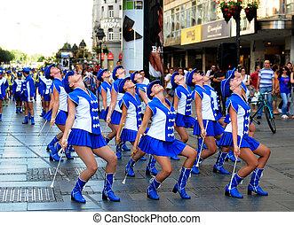 SERBIA, BELGRADE - AUGUST 22, 2011: Majorette dance in front...