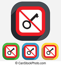 Do not open. Key sign icon. Unlock tool symbol. Red square...