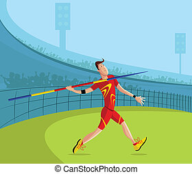 Javelin Player - cartoon style javelin player in vector