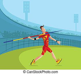 Javelin Player - cartoon style javelin player in vector