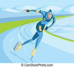 Ice Skater - cartoon style ice skater in vector