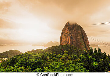 Evening view of Sugarloaf mountain Rio De Janerio Brazil -...