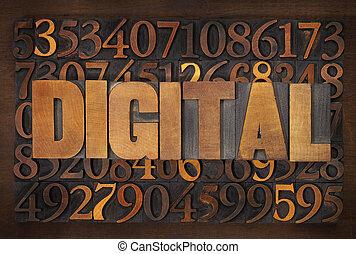 digital word in wood type