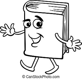 book cartoon coloring page - Black and White Cartoon...