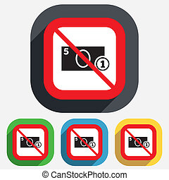 No Cash sign icon Money symbol Coin - Not allowed Cash sign...