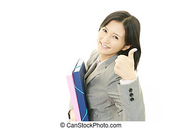 Business woman enjoying success - The female office worker...