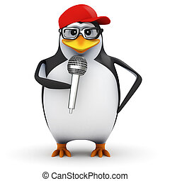 3d Penguin comedian - 3d render of a penguin doing a stand...