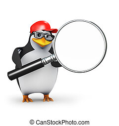 3d Penguin magnifier - 3d render of a penguin with a...