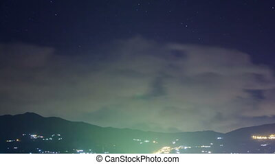 Night view of the countryside and mountains. Time Lapse