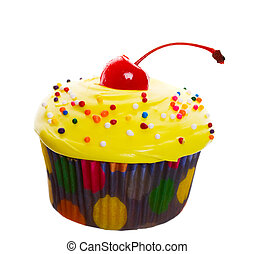 Yellow Cherry Cupcake - Delectable yellow cupcake topped...